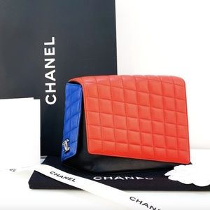 CHANEL Lambskin Color Block Clutch Handbag